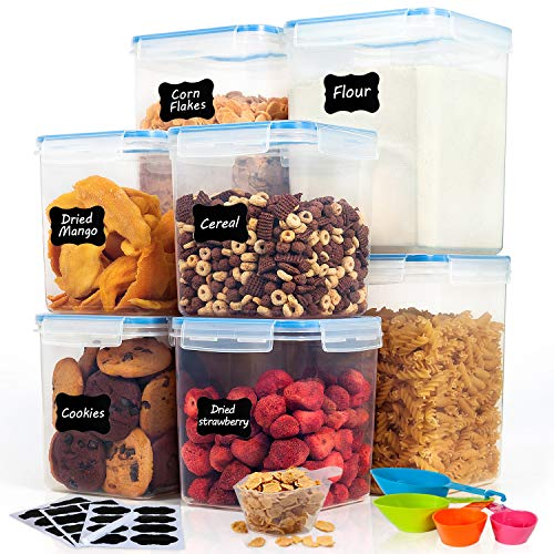 Large Food Storage Containers for Pantry-HOOJO 8 Piece (4.7QT and 2.3QT) Airtight Plastic Containers for Flour, Sugar and Baking Supply, BPA Free Containers for Kitchen Pantry Organization and Storage