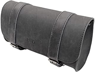 Hide & Drink, Thick Leather Motorcycle Handlebar Bag/Tool Bag/Accessory Pouch/Saddle Bag, Handmade Includes 101 Year Warranty :: Charcoal Black