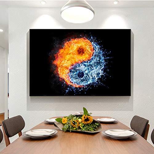 PLjVU Fuego y Agua Lienzo Pintura sobre Lienzo impresión Mural Arte Pop Art Yin y Yang Cuadros de Pared decoración del hogar-Sin marco50X75cm