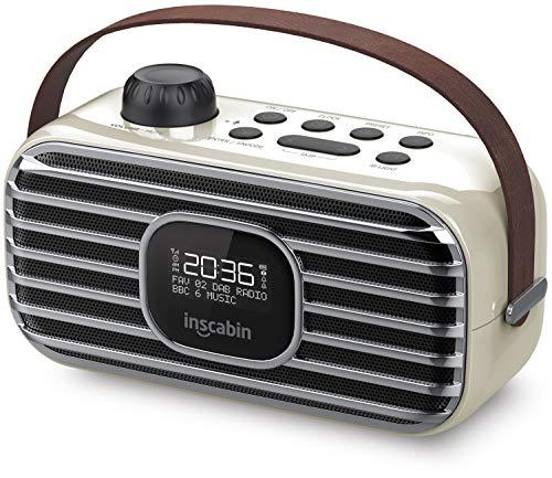 Inscabin P3 Tragbarer DAB/DAB + FM-Digitalradio/Tragbarer drahtloser Lautsprecher mit Bluetooth/Stereo-Sound/Schönes Design/Doppelwecker/Subwoofer/Akku (Weiß)