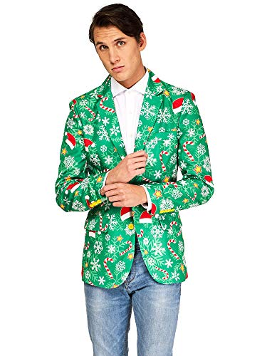 OFFSTREAM Ugly Christmas Jackets for Men – Green Time Jacket Only – Xmas Sweater Blazer – XXL