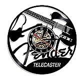 YYRY Relojes de Pared Guitarra eléctrica Disco de Vinilo Reloj de Pared Instrumentos Musicales Estudio de música con luz Nocturna LED Reloj de Pared de Vinilo 12 Pulgadas SDID-200