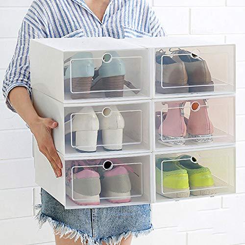 Devoto opberghoes, opvouwbare stapelbare transparante plastic witte schoenen rekken voor garderobe en entryway schoen organisator kabinet, kubus opslag Bins met deksels voor mannen, vrouwen schoenen, Sneakers, 3 STKS
