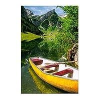 スイスアルプスのボート風景壁アートポスターHdプリントキャンバス壁アート家の装飾リビングルーム寝室の装飾ギフト写真-60x80CMフレームなし