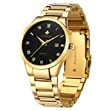 WWOOR Men's Quartz Stainless Steel and Metal Black and Gold Watches for Men Waterproof Casual Wrist Watch with Date