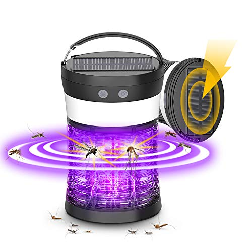 Solar Powered Bug Zapper, 3-in-1 Rechargeable Mosquito Killer Camping Lantern with SOS Emergency Light, Waterproof Electric Mosquito Zappers Insect Fly Pest Attractant Trap for Indoor Outdoor