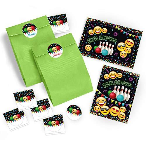 JuNa-Experten 10 Einladungskarten Geburtstag Kinder Jungen Jungs Mädchen Bowling / Einladung zur Bowling-Party / Kartenset incl. 10 Umschläge, 10 Tüten / grün, 10 Aufkleber