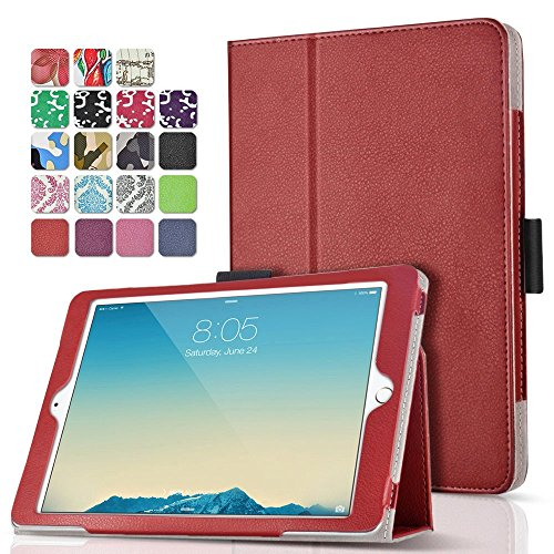 TNP iPad Pro 9.7 Case (Red) Ultra Slim Lightweight Protective Stand Folio Smart Cover with Card Slots, Stylus Holder, Auto Sleep/Wake Feature for Apple iPad Pro 9.7' 2016 Release Tablet