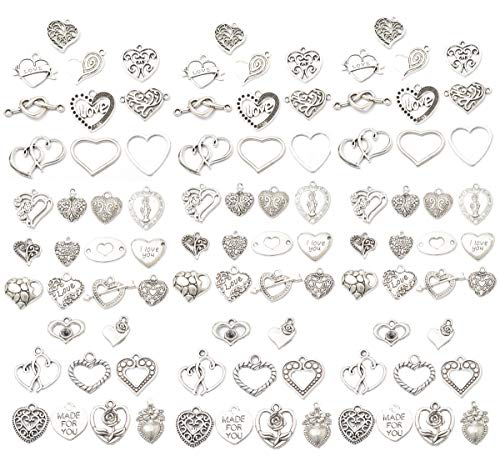 Assorted 93pcs Heart Shaped Alloy Pendants Love Wine Glass Charms Bracelet Necklace Beads Wine Glass Charms for Jewelry Making Birthday Christmas Valentine's Gift