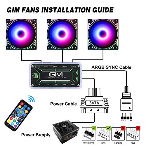 5 Pack 120mm Quiet Computer Cooling PC Fans Colorful Silent Cooler Adjustable with Fan Control Hub GIM KB-24 RGB Case Fans 5V ARGB Addressable Motherboard SYNC//RC Controller