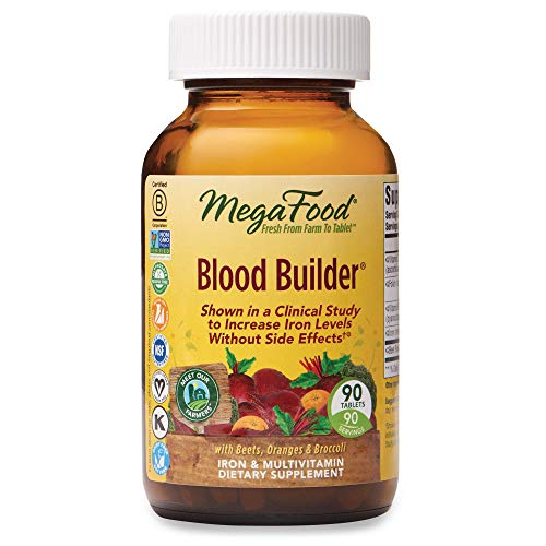 MegaFood, Blood Builder, Iron Supplement, Support Energy and Combat Fatigue without Nausea or Constipation, Non-GMO, Vegan, 90 Tablets