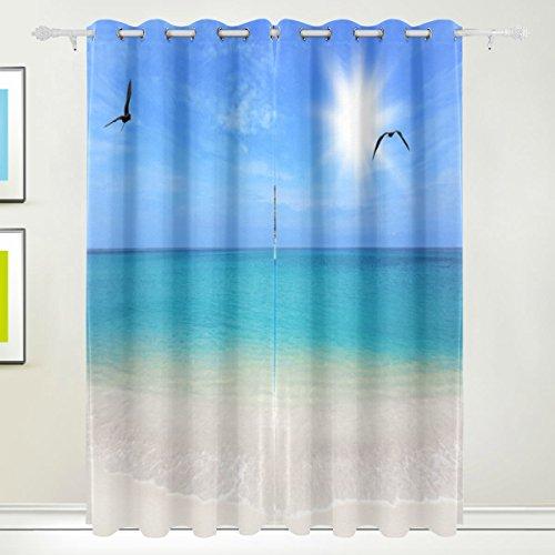 Rideau de fenêtre, Luxe Tropical Palm Oiseaux de mer Plage Soleil Impression Isolation thermique épais Super Doux Tissu de polyester Décoration de maison avec œillet 2 panneaux pour chambre