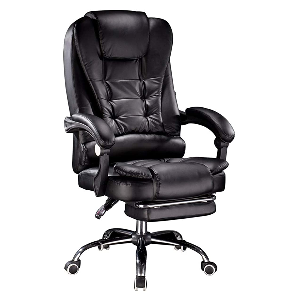 常習的メガロポリス追い払うLJFYXZ 社長椅子 肉厚クッション 事務椅子 チルトとマッサージ機能 足置き付 上下昇降機能 レザーチェア (Color : Black)