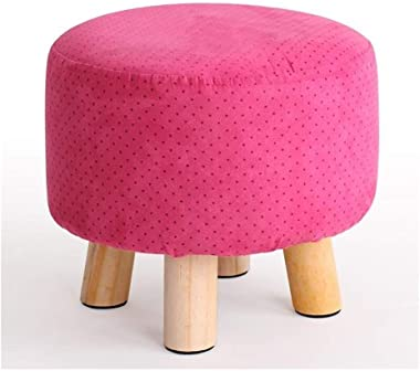 Carl Artbay Wooden Footstool Rose Red Point Fashion Stool Solid Wood Bench Cloth Removable Washable Shoe Stool Home
