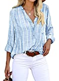 Yidarton Women's Long Sleeve V-Neck Stripes Casual Blouses Button Down Business Blouses Shirts (Large, Blue)