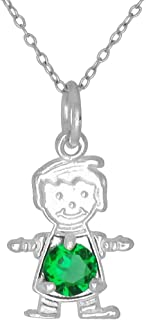 Happy Baby Boy Sterling Silver May Green Birthstone Pendant Necklace and Chain