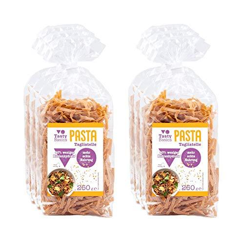 TastyBasics Pasta Tagliatelle (6 x 250gr) | Gesunde Low-Carb Nudeln aus Hülsenfrüchten | 40% weniger Kohlenhydrate | Reich an Proteinen & Ballaststoffen | Ohne Zuckerzusatz