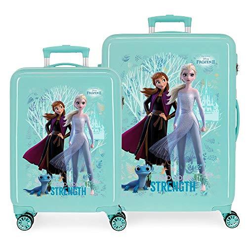 Disney Frozen Die Eiskönigin Find Your Strenght Kofferset Blau 55/68 cms Hartschalen ABS Kombinationsschloss 104L 4 Doppelräder Handgepäck