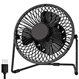 EasyAcc USB Desk Fan 5 Inch Desktop Silent Fan Air Circulator 2 Speeds 360° Rotation Brushless Motor Noiseless for Home and Office Laptop Notebook PC Desk Table Fan