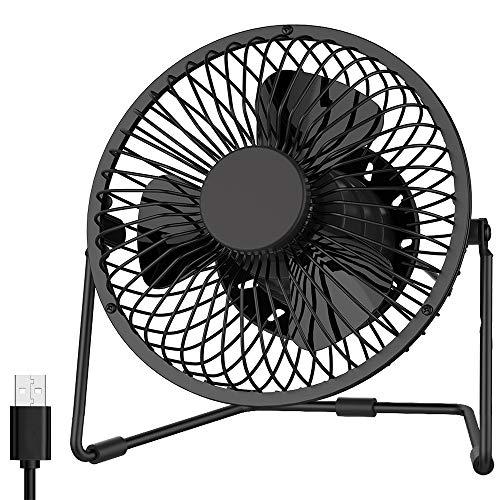 EasyAcc Ventilador De Escritorio USB De 5 Pulgadas Con 2 Configuraciones Mini Operación Silenciosa Portátil Rotación De 360 ° Ventilador De Enfriamiento Personal Para Oficina En Casa - Negro