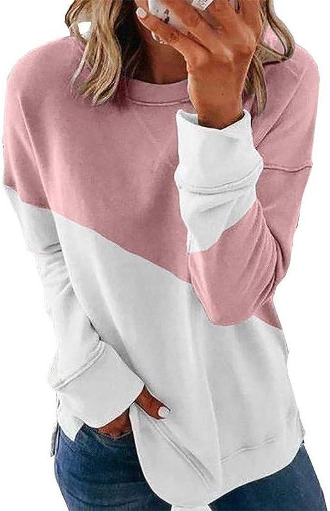 VEKDONE Women Color Block Tunic Tops Crewneck Long Sleeve T-Shirt Casual Loose Shirt Blouses Pullover Sweatshirts