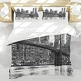 BEDNRY Juego de Ropa de Cama,Puesta de Sol Moderna del Puente de Brooklyn con Imagen de la Ciudad Famosa de Manhattan American New York City,1 Funda Nórdica 220x240cm y 2 Funda de Almohada