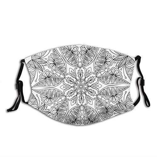 hangong Cómodo a prueba de viento, diseño étnico asiático dibujado a mano, patrón floral sagrado tradicional, decoración facial impresa para adultos.