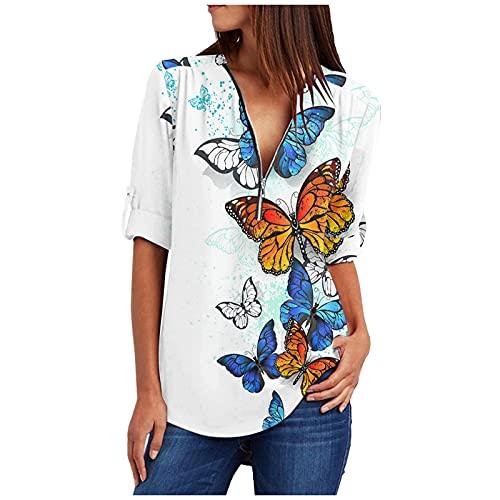 Camisa Casual de Verano para Mujer, Manga Larga, Cuello en V, Estampado, Plegable, Plegable, con Cremallera Superior(Blanco,XL)