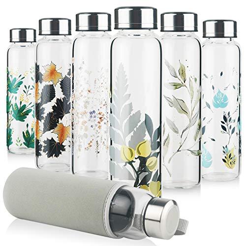 Reeho Trinkflasche Glas, Sport Borosilikat Glasflasche Wasserflasche mit Neopren-Hülle mit Auslaufsicher Edelstahldeckel 500 ml / 1000 ml / 1 Liter