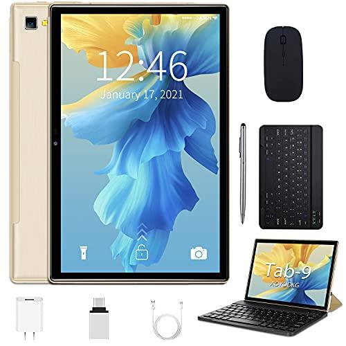 Tablet 10 Pollici Android 10.0,Tablets 5G (2.4Ghz e 5Ghz) Certificato Google GMS,4 GB RAM e 64 128GB ROM,Doppi WiFi, Incluso Ttastiera Bluetooth,Mouse,Custodia per Tablet e Altro -Type-C (oro)