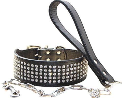haoyueer Cadena de collar de perro con diamantes de imitación de cuero de 5 cm de ancho, con cadena de correa de plomo para uso pesado Pitbull, Bulldog, Doberman (S, negro)