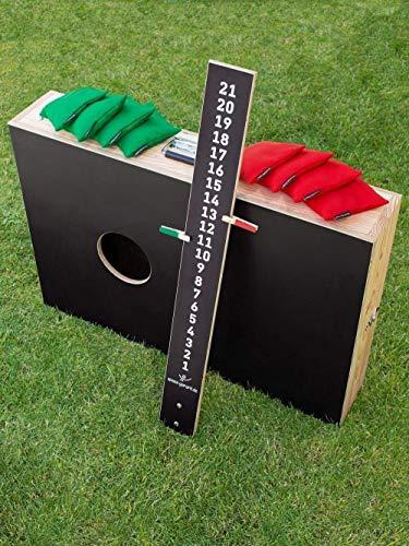 Cornhole Koffer Set, bestehend aus 2 verbindbaren Brettern / Boards, 8 Säckchen / Bean Bags und einem Zählbrett - Top Qualität made in Germany, handgemacht