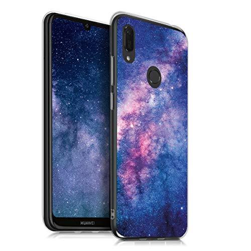 kwmobile Hulle kompatibel mit Huawei Y6 2019 Handyhulle Handy Case Galaxie Sterne Rosa Pink Dunkelblau