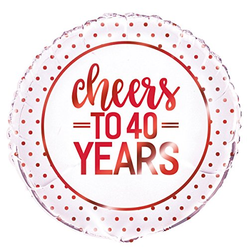 Cheers to Years Anniversary Party Supplies Ballon - 40 Jaar Rood
