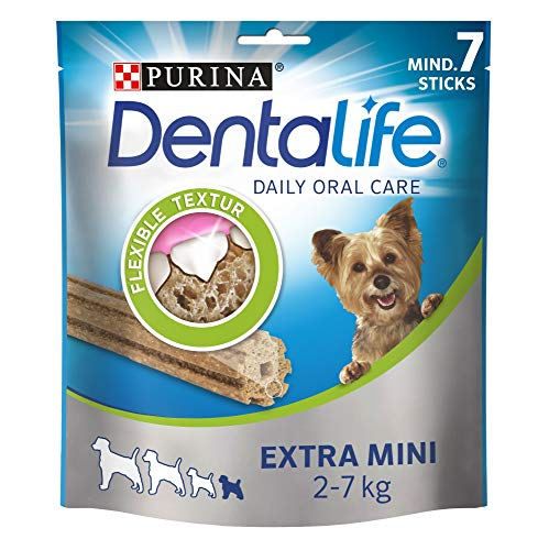 PURINA DENTALIFE Extra Mini Hunde-Zahnpflege-Snacks reduziert Zahnsteinbildung, Huhn, sehr kleine Hunde, 5er Pack (5 x 69g)
