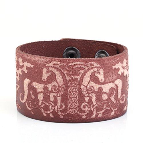 VASSAGO Wicca - Pulsera de piel con diseño de amuleto celta de doble ciervo, estilo vikingo, talismán