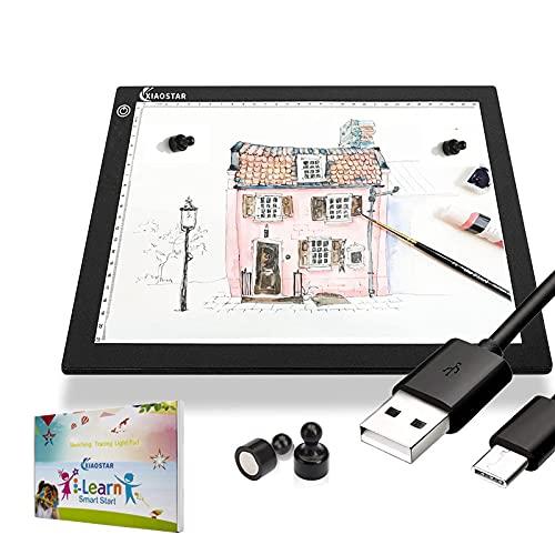 XIAOSTAR Tablette Lumineuse A4,Table Lumineuse Dessin à LED,Câble de Charge de Type-C de Luminosité Réglable,Tableau de Peinture au Diamant pour Broderie Diamant,Animation