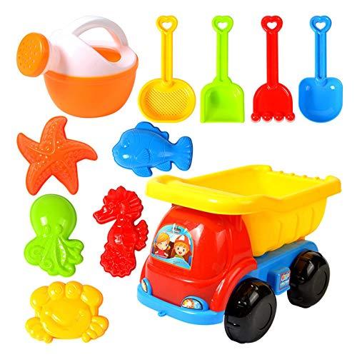 Wood.L Sandspielzeug Junge Set, Strandspielzeug Kinder, Strand Spielzeug Sand Set, Sandkasten-Eimer - Formen, Spaten, Harke, Ummer Outdoor-Spielzeug Spielzeuglastwagen,Sandkasten-Spielzeug