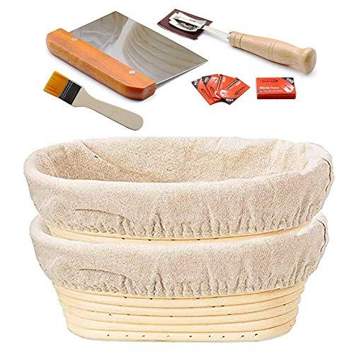 10-Zoll-Oval Banneton Proofing Korb, natürliche Rattan Brotform Sauerteigbrot Proving Korb Backteig Bowl for Professional und Home Use