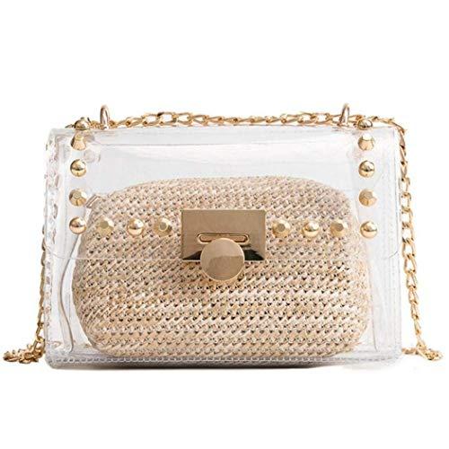 Clear Purse, 2 in 1 Transparent Shoulder Bag Set Fashion Rivet Chain Strap PVC Handbags for Women Crossbody Bag (Khaki)