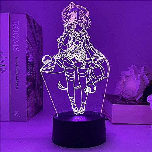 Anime Genshin Impact Lampada 3D Qiqi Figura LED luce notturna per bambini Decor Nightlight Room Regalo di compleanno 16 colori
