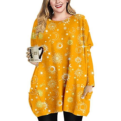 Vestido Suelto hasta la Rodilla para Mujer Primavera Otoño Invierno Manga Larga Cuello Redondo Sudadera con Capucha Estampado 3D Camiseta Informal Tops para el hogar XS