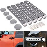 Grab Handles for Jeep Wrangler, DDUOO Aluminum Silver Grab Door Handle Inserts with Knob Cover Push Button for Jeep Wrangler JKU 4-Door 2007-2017
