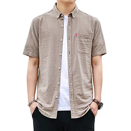 Camisa de Manga Corta de Verano para Hombre, versin Coreana de la Tendencia a Rayas, Camisa de diseo Suelto, Chaqueta Informal XL