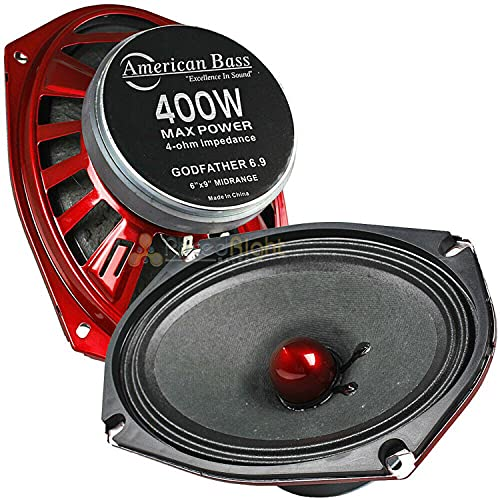 American Bass Godfather 6 x 9 Inch 4 Ohm Impedance 400 Watt Max Power Midrange Performance Output Loud Speaker with 98 Decibel Sensitivity