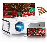 Proiettore WiFi, HOLLYWTOP Full HD1080P Mini Videoproiettore 4200 lumen Correzione Tropezoidale 4K Proiettore home theater,Supporta USB/HDMI/SD/AV/VGA