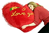Big Plush Giant Valentine Heart Pillow 42 Inches I Love You, Very Soft Huge and Life Sized