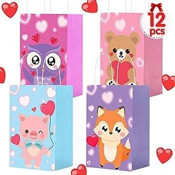 MISS FANTASY Valentine Gift Bags for Kids 12 Pack Valentines Goodie Party Bags Valentine Bags for Kids Toddlers Valentine Day Gift Bags Bulk Valentine Bags with Handles for Valentine Party Supplies