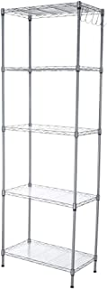GXOK Multi-Function 5-Layer Storage Rack, Assembly Kitchen Rack with 5 Hooks,Multi-Layer Bookshelf for Living Room,Kitchen Supplies Storage Rack [Ship from USA Directly]