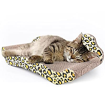 PrimePets Cat Scratcher Lounge, Recycle Corrugated Cat Scratcher Cardboard, Cat Scratching Lounger Sofa Bed, Kitty Scratcher Lounge for Small Kitty (Catnip Included)